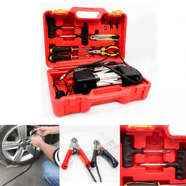 Emergency Air Compressor & Puncture Tool Kit with Box