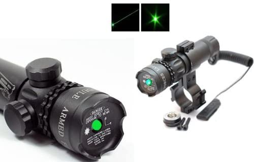 Tactical Green Laser Sight Dot Scope with Weaver Mounts + Barrel Mount