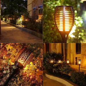 Solar Powered Flickering Flame Lawn Lights for Outdoor Decoration 1