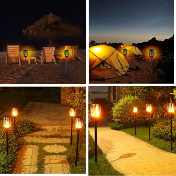 Solar Powered Flickering Flame Lawn Lights for Outdoor Decoration