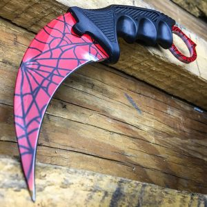 Red Spiderman Crack Pattern Karambit Knife
