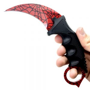 Red Spiderman Crack Pattern Karambit Knife 1