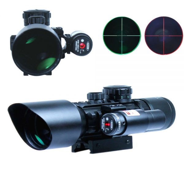 Reticle Rifle Scope with Rail Mount and Laser Sight | LS3-10X42E